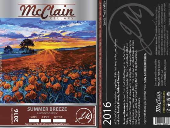 McClain Cellars Summer Breeze wine label Grenache Blanc, Loureiro, Viognier blend